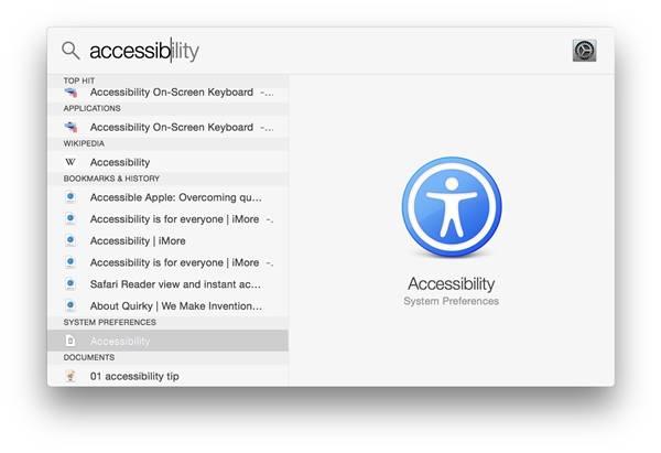 Accessibility Spotlight OS X