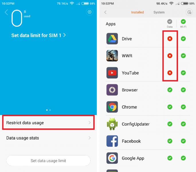 Membatasi WiFi dan Data Usage MIUI