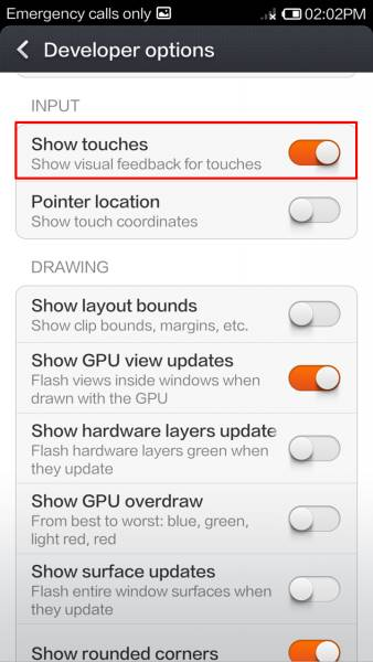 Show Touches MIUI