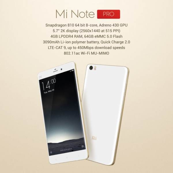 Spesifikasi Mi Note Pro
