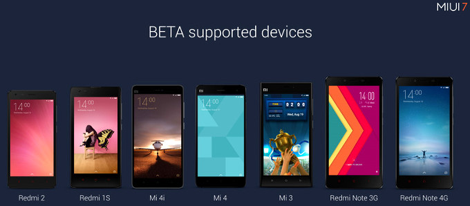 MIUI 7 Supported Devices