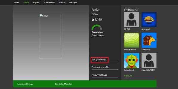 Untuk mulai mengubah Gamertag-mu, klik pada EDIT GAMERTAG seperti pada gambar diatas