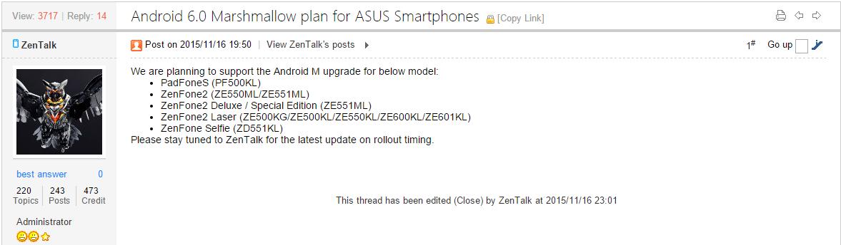 Berita ini diungkap langsung oleh Admin Forum ASUS ZenTalk