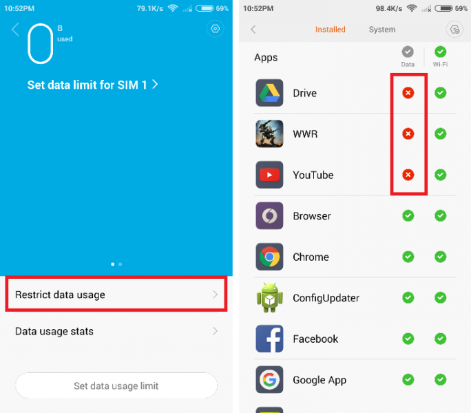 Membatasi WiFi dan Data Usage MIUI