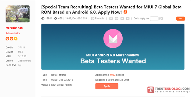 Special Recruitment_MIUI 7 Android 6.0 Marshmallow_Beta Tester Wanted