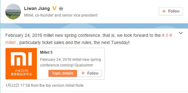 Xiaomi Mi 5_Release Date